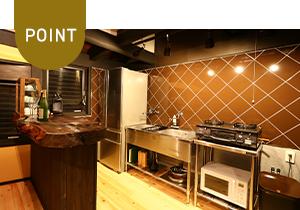 キッチンはドリンク、調理器具、調味料を完備